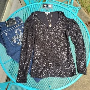 Cache Black Sequin Cold Shoulder Long Sleeve Top